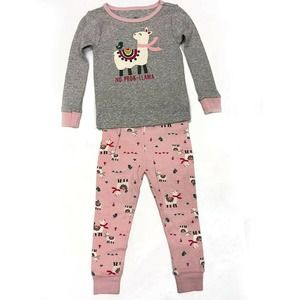 Llama Pajamas! No Problema! Girls PJs Gray Pink 3T